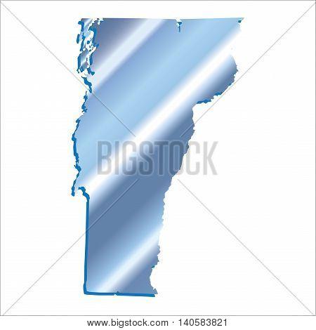 3D Vermont (USA) Iridium Blue Boundary map with shadow