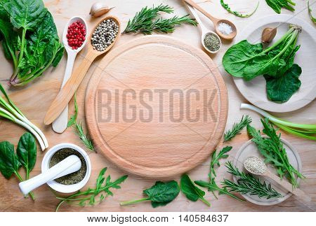 Vegetarian cooking concept, flat lay, vie from above