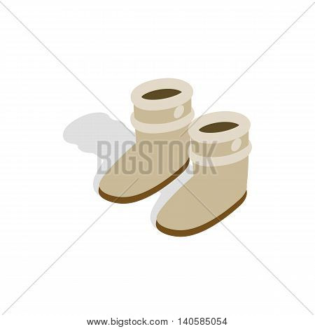 Pair of winter shoes icon in isometric 3d style on a white background