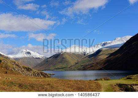 Wastwater with snow capped Lingmell Scafell pike and Scafell in the background