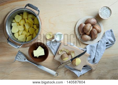 Mashed potatoes ingredients and recipe top view