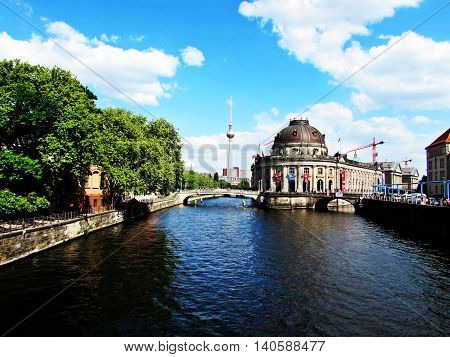 Museum Island in river Spree and Alexanderplatz TV Tower Berlin, Germany.