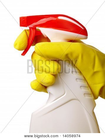 Hand Holds Sprayer With Chemical Cleaner