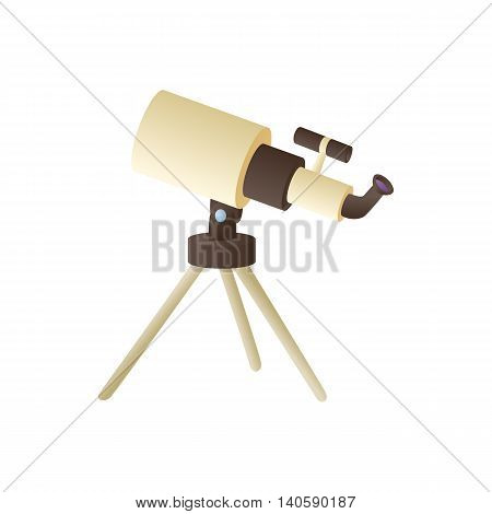 Telescope icon in cartoon style on a white background