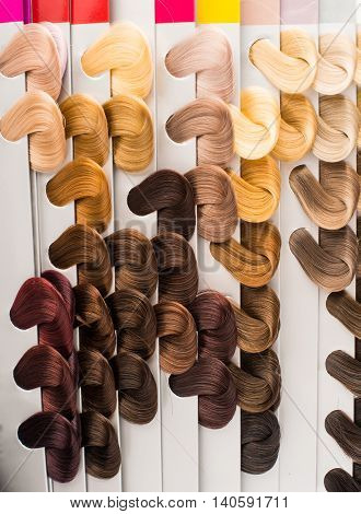 hair samples  fashion colorful of different colors
