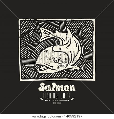 Stock vector linocut with a picture of salmon. White print on black background