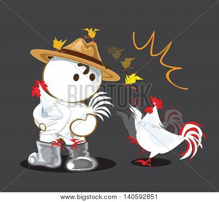 Chicken animation falling funny in owner Farm cartoon cute acting design hen to panic her baby is falling.