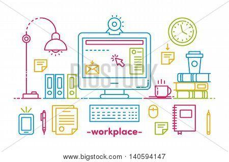 Illustration Office Workspace