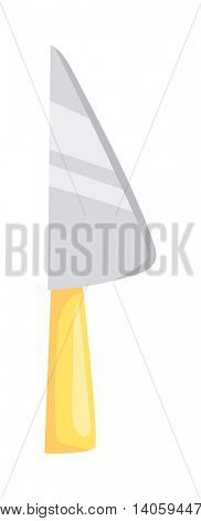 Kitchen knife cleaver flat vector.