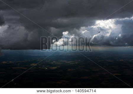 Aerial view of bad weather Storm Clouds above Farmland.