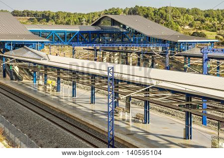 Platforms of modern railway station in Tarragona (Spain). Horizontal.