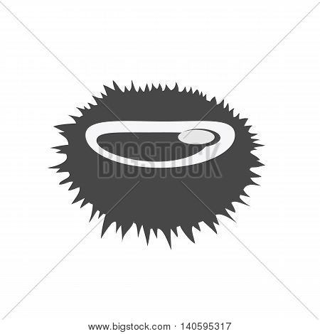 Sea urchin vector pattern monochrome variant. Seafood illustration for packaging, logos, and patterns. Healthy eating marine products concept. Cooked sea urchin on blue background.