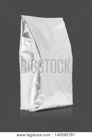 blank packaging aluminum foil pouch isolated on gray background with clipping path