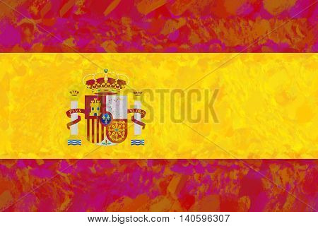 Illustration of the national flag of Spain with a colorful look.