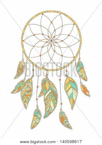 Hand drawn Dreamcatcher isolated on white background. Native Indian talisman. Vector illustration.