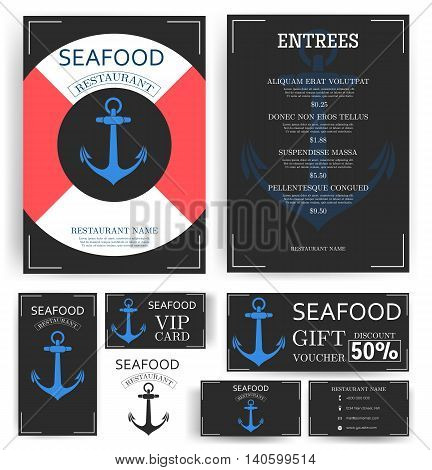 Seafood restaurant menu template. Anchor and lifeline.  Branding. Business card, flyer, vip card and gift voucher. Vector design.