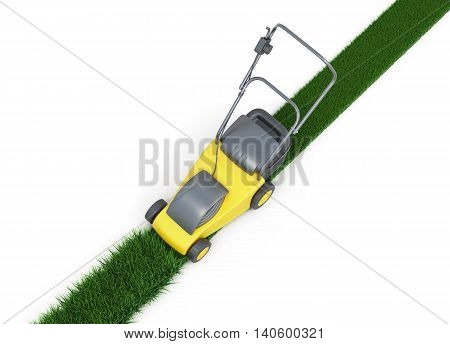 Lawn mower cutting grass top view on white background. Swath of grass. Trimmed grass. 3d rendering