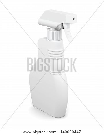 Plastic blank spray bottle isolated on white background. Household chemicals. Cleaning product. For your design. 3d rendering