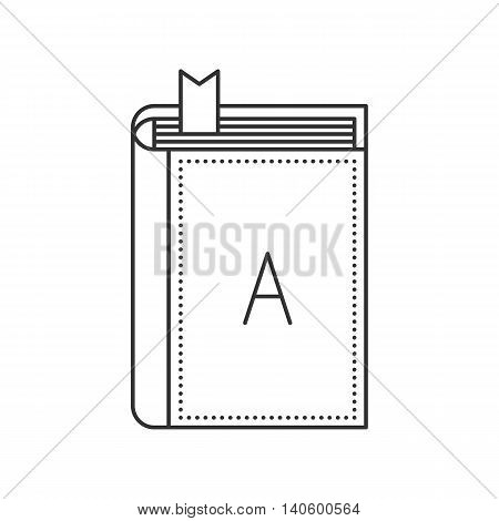 Thin line book icon. Closed book with bookmark and with letter A on the cover