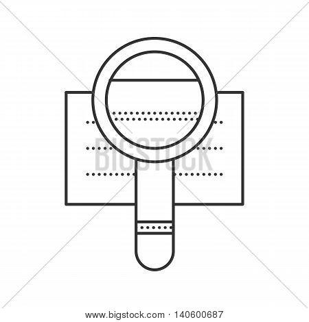 Loupe with paper sheet thin line icon. Search document icon