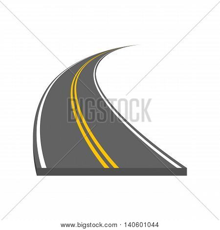Road vector illustration. Curved highway with markings.