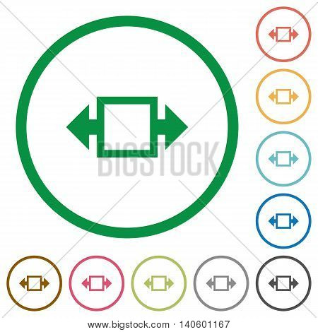 Set of Width tool color round outlined flat icons on white background