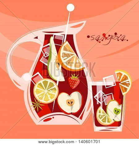 Traditional spanish drink. Sangria. Punch. Vector illustration