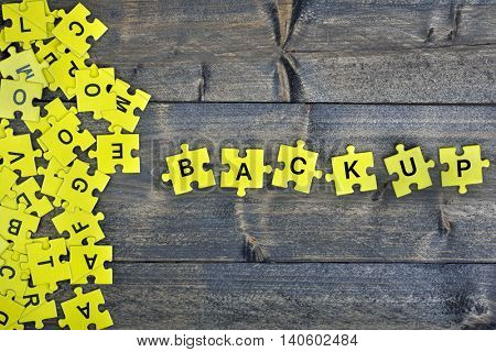 Puzzle pieces with word Backup