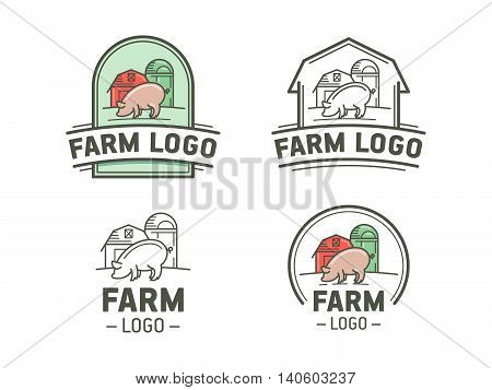 Set of farm logos in flat and linear style. Vintage emblem with pig. Vector illustration