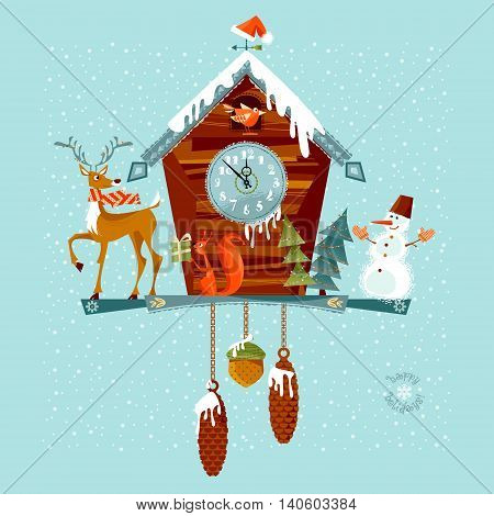 Christmas cuckoo clock with deer squirrel and snowman. Vector illustration.
