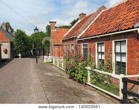 Old Street with Old Fisherman's Houses out of red Bricks