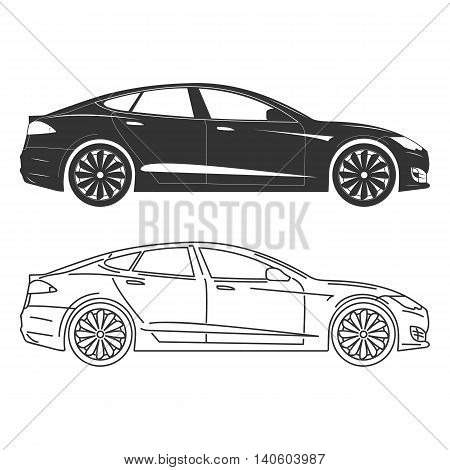 Silhouette of electric car Side view Flat Outline.