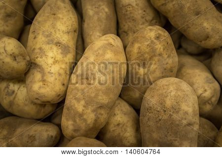 Closeup organic russet baking potatoes at local farmers market