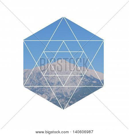 Mountain peak landscape in geometric hexagon divided into triangles in the form of a Star of David on a white background. Sacred geometry. Alchemy religion philosophy hipster symbols and elements