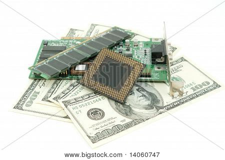 Computer  Components  And Money  On White Background