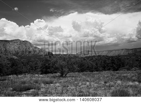 Black and white country mountains surrounding Sedona Arizona