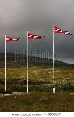 Three Norwegian Flags in Windy Weather Before Storm.