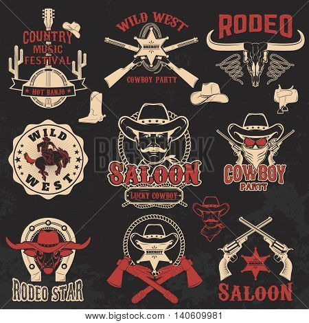 Cowboy rodeo wild west labels. Design elements for logo label emblem sign badge brand mark. Vector illustration.
