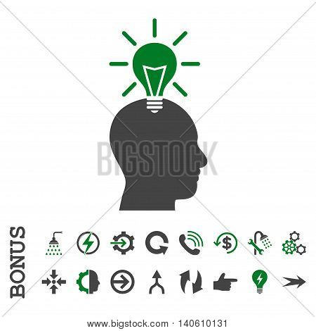 Genius Bulb vector bicolor icon. Image style is a flat iconic symbol, green and gray colors, white background.