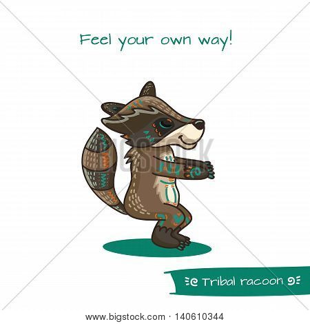 Cute Hand Drawn Tribal Racoon Doing Yoga Position
