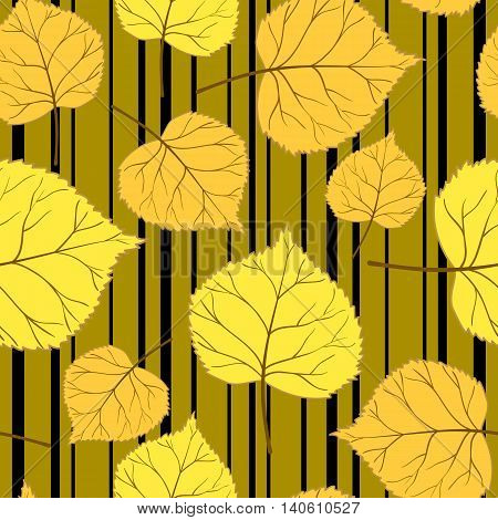 Autumn seamless pattern with colorful leaves on a gold background with horizontal stripes.Floral vector illustration for web pages, cloth, textile, wrapping paper, scrapbooking, Wallpapers.