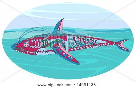 Fantastic floating mechanism reminiscent of a shark. Futuristic or steampunk tattoo design. Isolated vector collapsible composition.