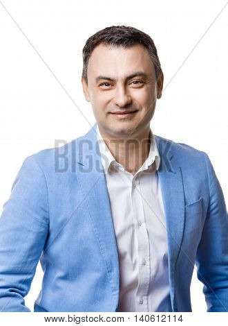 Portrait of middle aged man in blue jacket. Isolate on white.