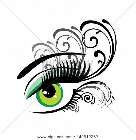 vector illustration of a green eye with swirls
