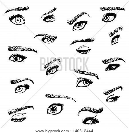 Set of hand drawn eyes and brows in several emotions vector illustration.