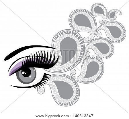 vector illustration of an eye with floral swilrs