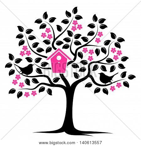 vector flowering tree with nesting bird box and couple of birds isolated on white background
