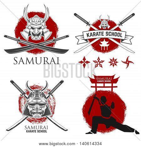 Set of samurai karate school labels. Ninja shurikens. Design elements for logo label emblem sign badge .Vector illustration.