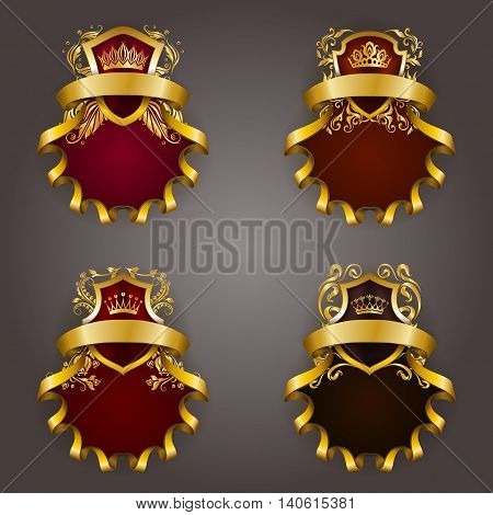 Set of golden royal shields for graphic design on background. Old graceful frame, border, crown, floral element, ribbon in vintage style for icon, label, emblem, badge, logo. Vector illustration EPS10