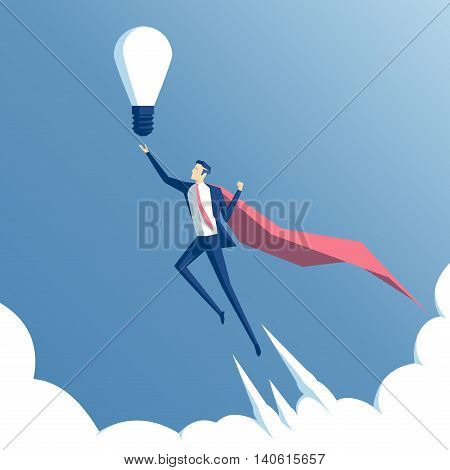 business concept and the idea of success. Businessman superhero flying above the clouds with idea